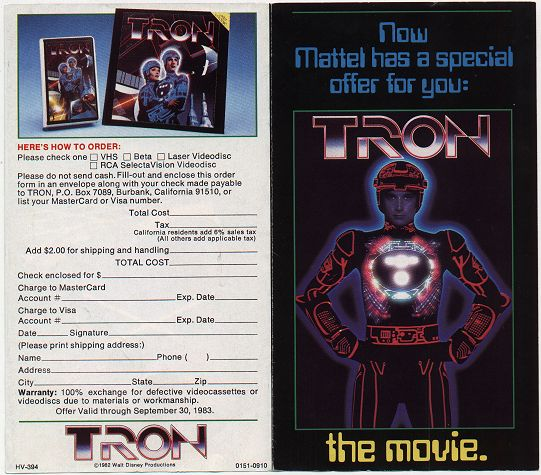 Tron Flyer (front and back)